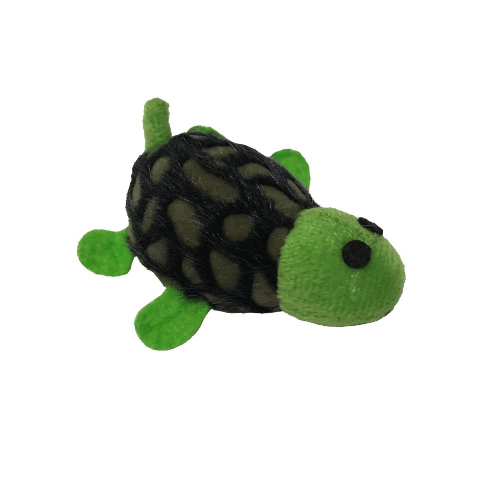 Peluche mini tortuguita para gatos color verde con marrón