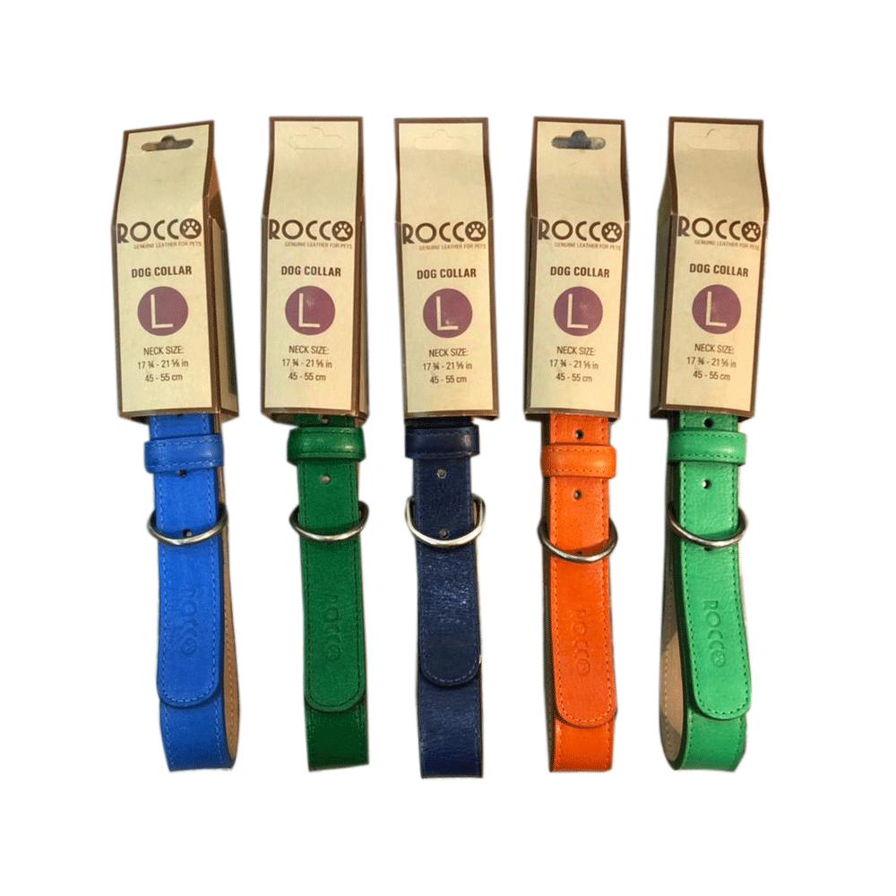 Juego de collares Rocco para perros de raza grande en colores azul cielo, verde, azul marino, naranja y verde primavera