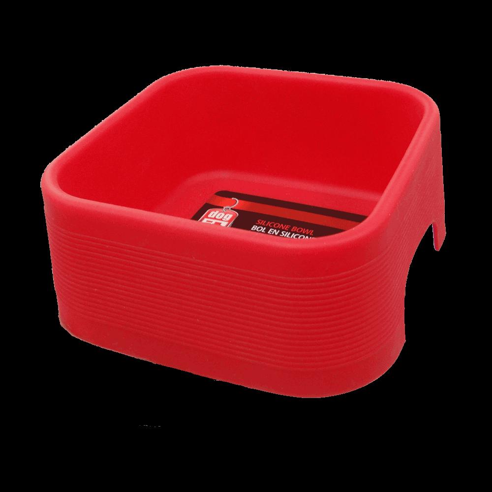 Plato con forma cuadrada color rojo de silicona Plato Rojo de Silicona Dogit para perros y gatos