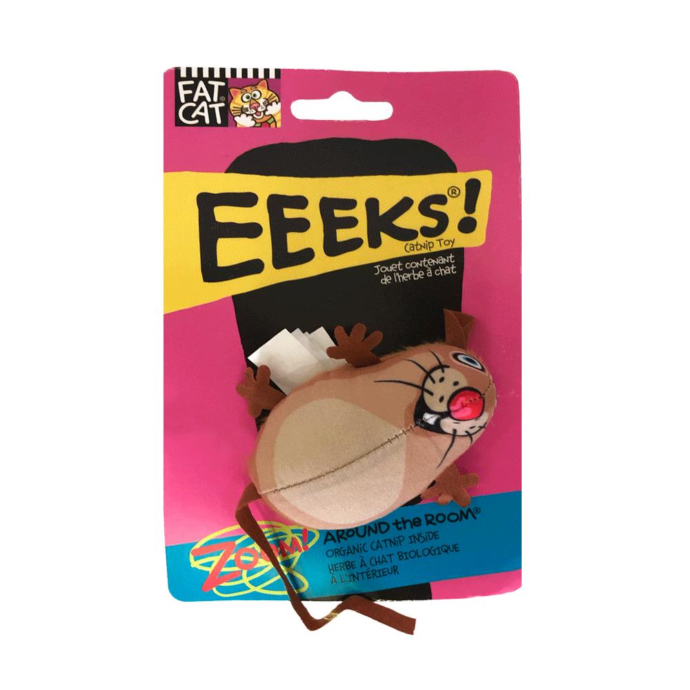 Empaque rosa con detalles azules de Ratón con Catnip Fat Cat color marrón