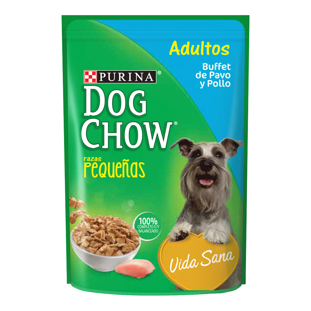 Empaque verde con detalles celestes y amarillos de Dog Chow Adultos Pavo y Pollo Razas Pequeñas alimento húmedo para perros