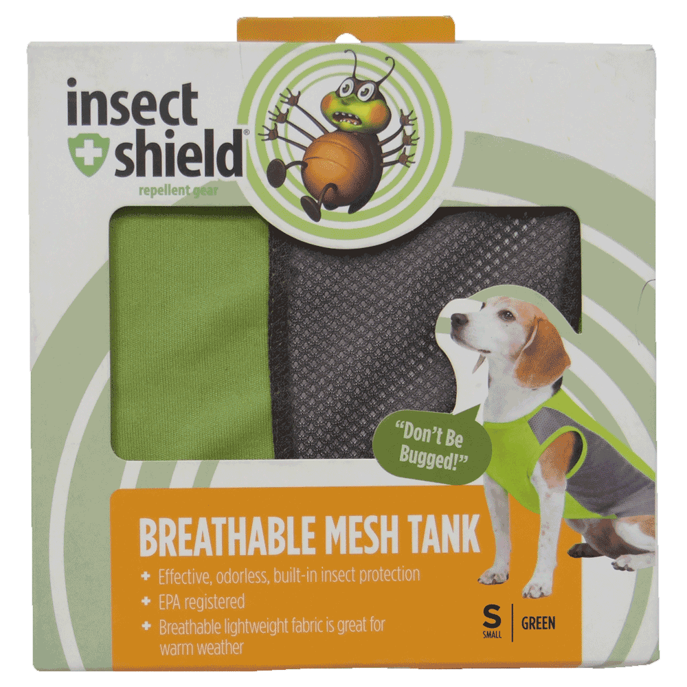Caja de Camiseta Repelente Para Perros Verde Insect Shield en su empaque original talla pequeña