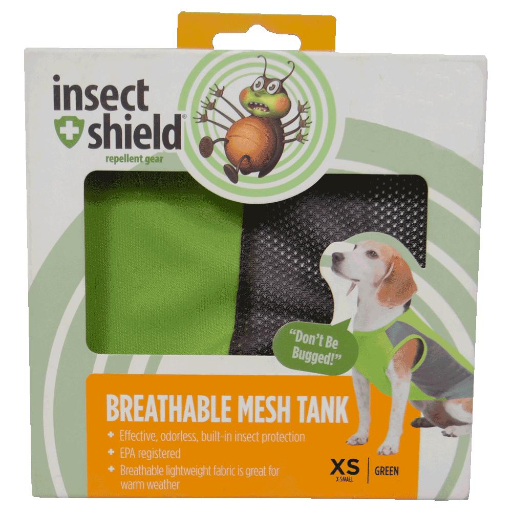 Caja de Camiseta Repelente Para Perros Verde Insect Shield en su empaque original talla XS