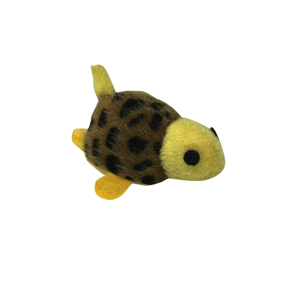 Peluche mini tortuguita para gatos color amarilla con marrón