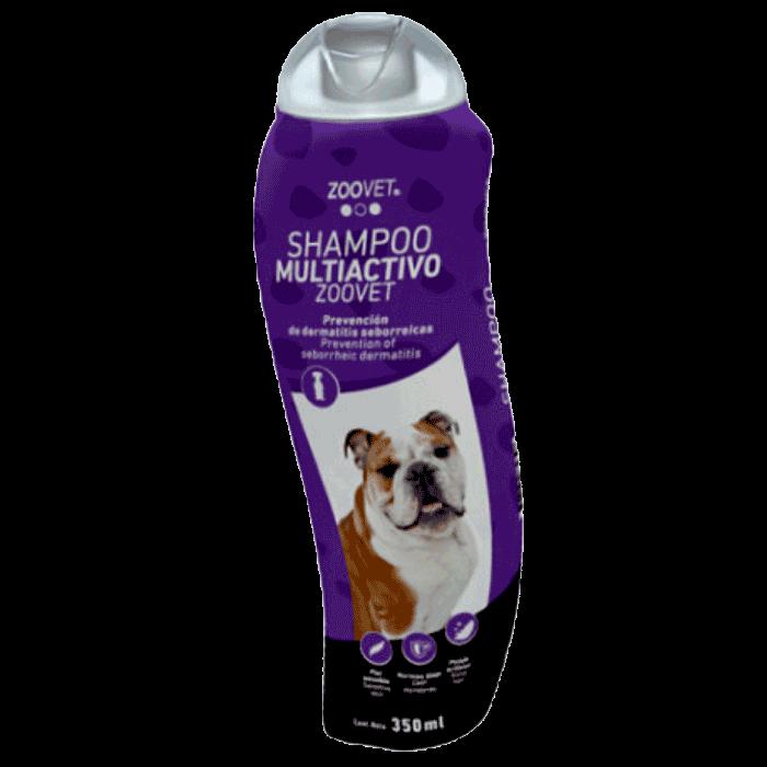 Botella morada con detalles blancos de Zoovet Shampoo Multiactivo para perros con problemas de piel