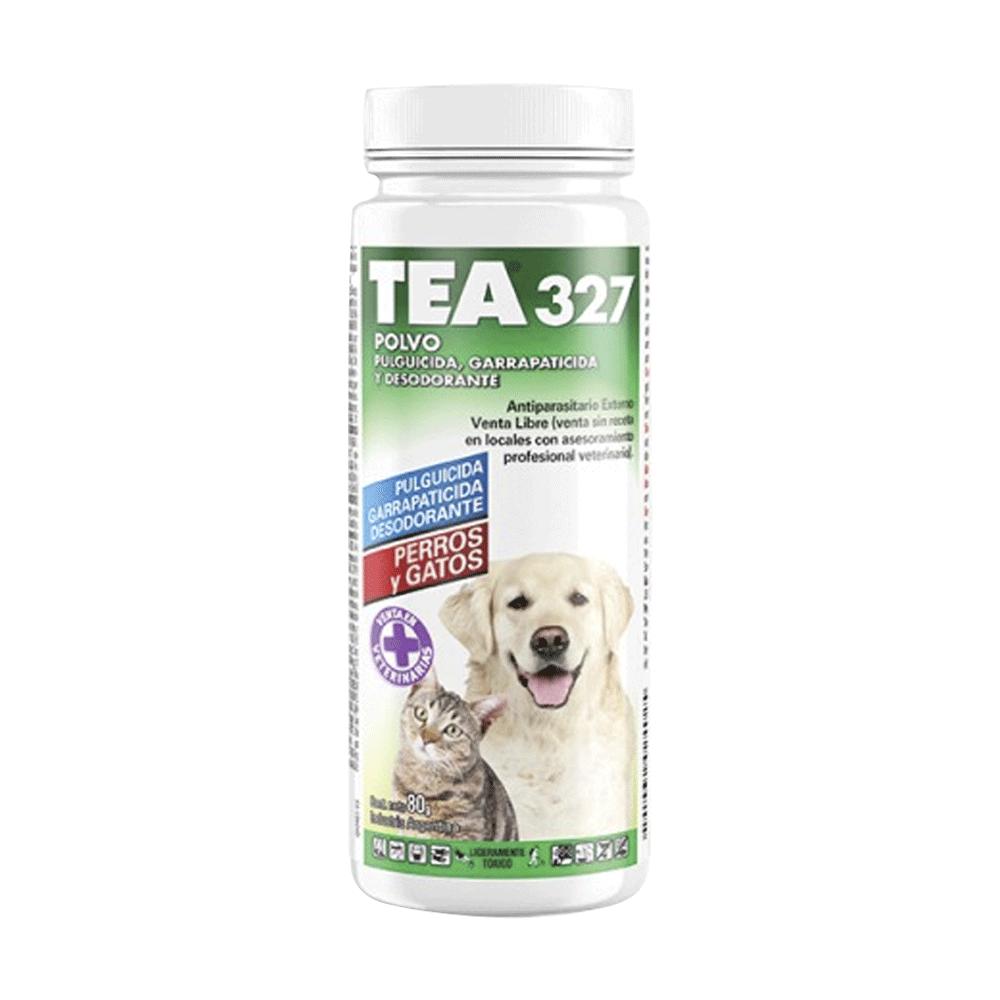 Frasco blanco con detalles verdes de Tea 327 Polvo Antiparasitario para perros y gatos
