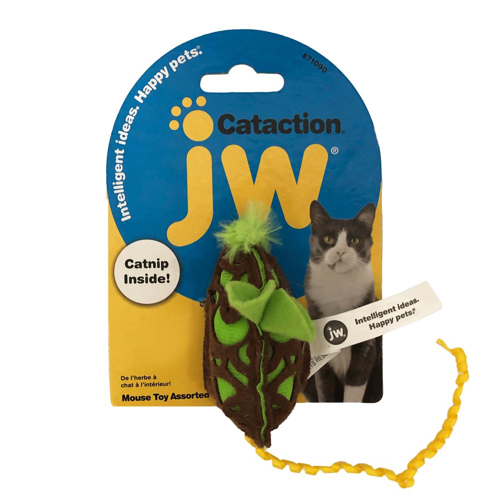 Empaque amarillo con azul de Raton con Catip JW para gatos color verde con marrón