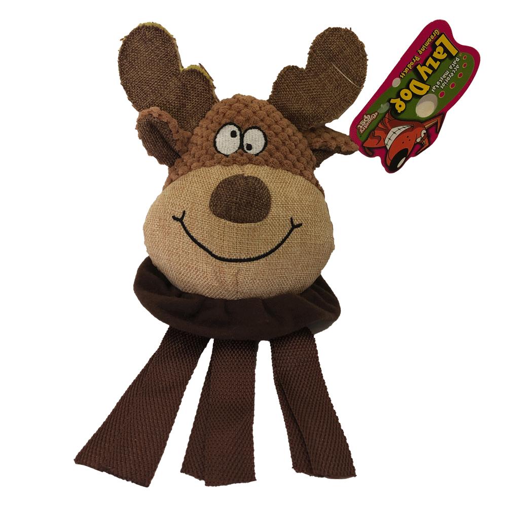 Imagen de producto Peluche cabeza de alce para perros con tonos marrones