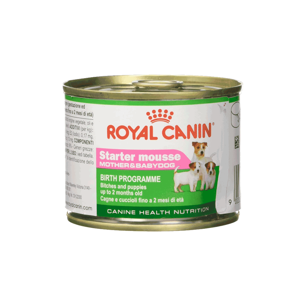 Lata blanca con verde de alimento Royal Canin Perro Starter Mousse Mother & Babydog