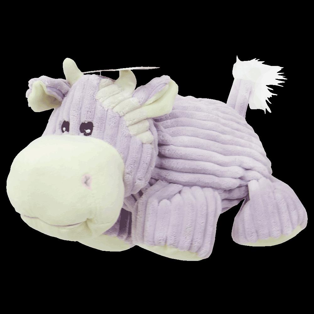 Peluche violeta con blanco en forma de vaca de Dogit Luvz Plush Vaca Violeta juguete para perros
