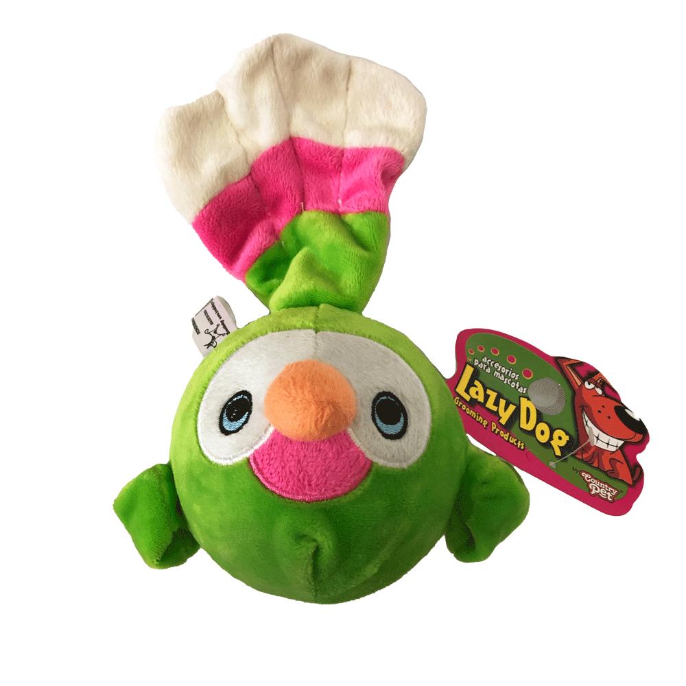 Imagen de producto Peluche pelota canario para perros color verde con detalles rosa y blancos