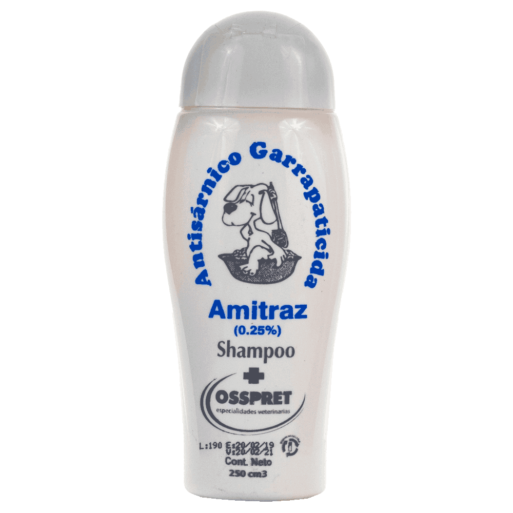 Frasco gris de Osspret Shampoo con Amitraz al 0,25%. Un baño de salud contra sarna y garrapatas