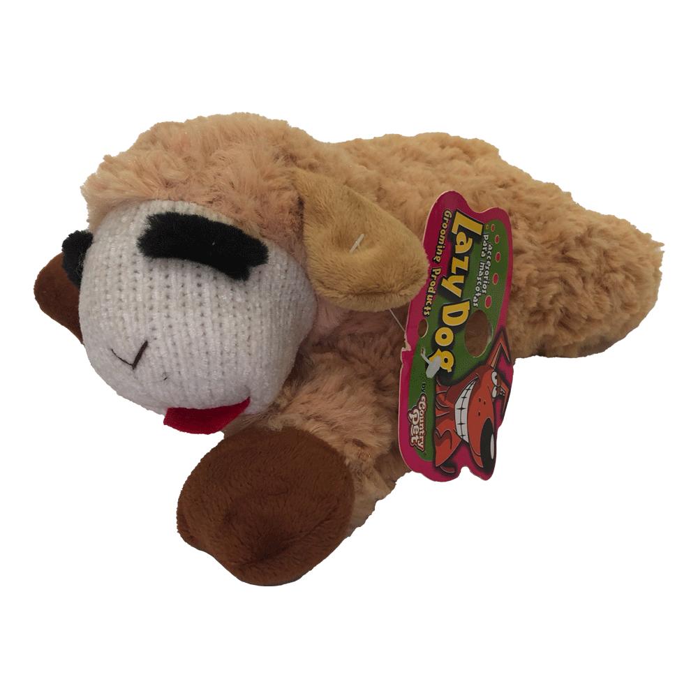 Imagen de producto Peluche oveja para perro color marrón con detalles blancos, rojos y negros