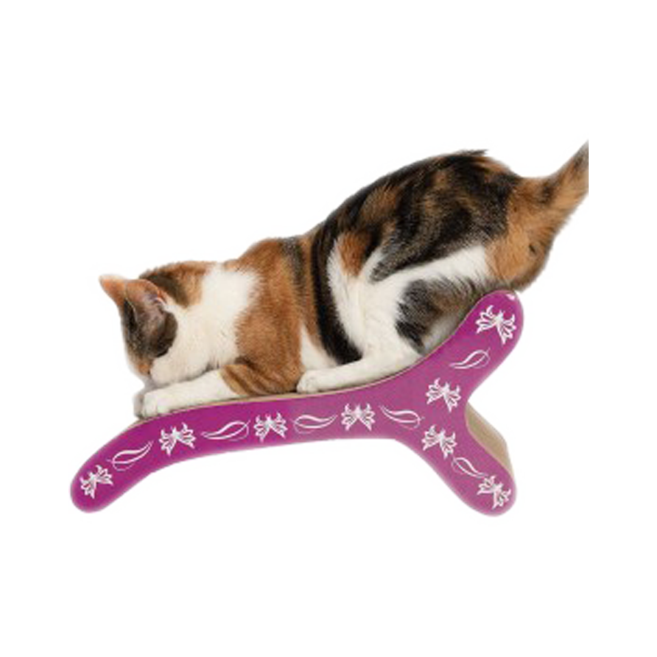 Gato utilizando rascador horizontal tipo silla con detalles morados y estampado de mariposa Rascador Silla Catit Mariposa para gatos