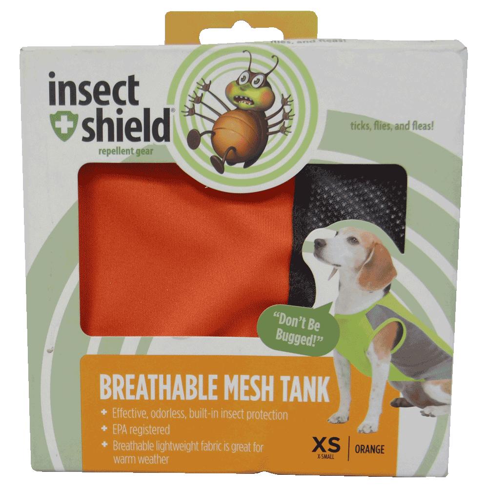 Caja de Camiseta Repelente Para Perros Naranja Insect Shield talla XS