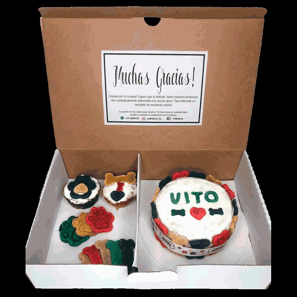 Imagen de Roccobox Pequeña Pet Bakery caja que contiene una torta, dos muffins, galletas para perro y una velita