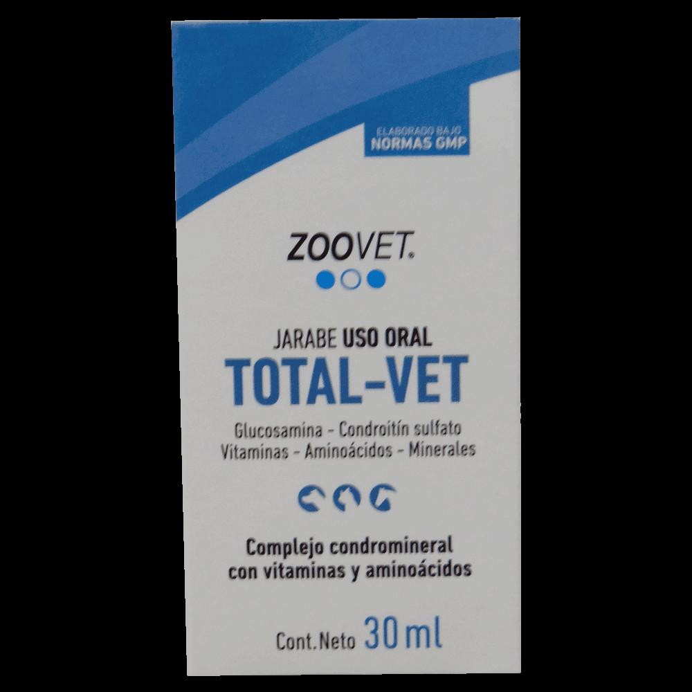 Empaque original con detalles blancos y azules de Jarabe Total Vet Zoovet suplemento para perros y gatos