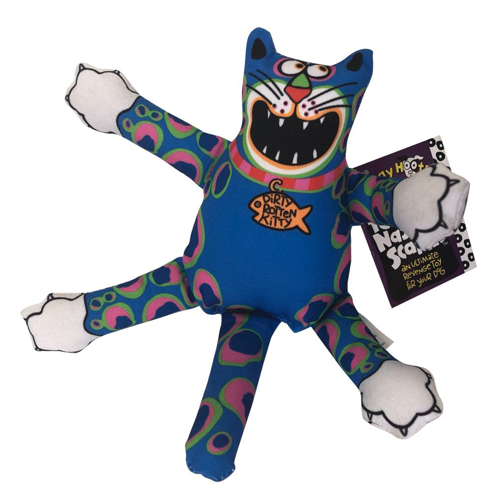Imagen de producto Peluche Mini Terrible Nasty Scaries Fat Cat para perros con forma de gato color azul