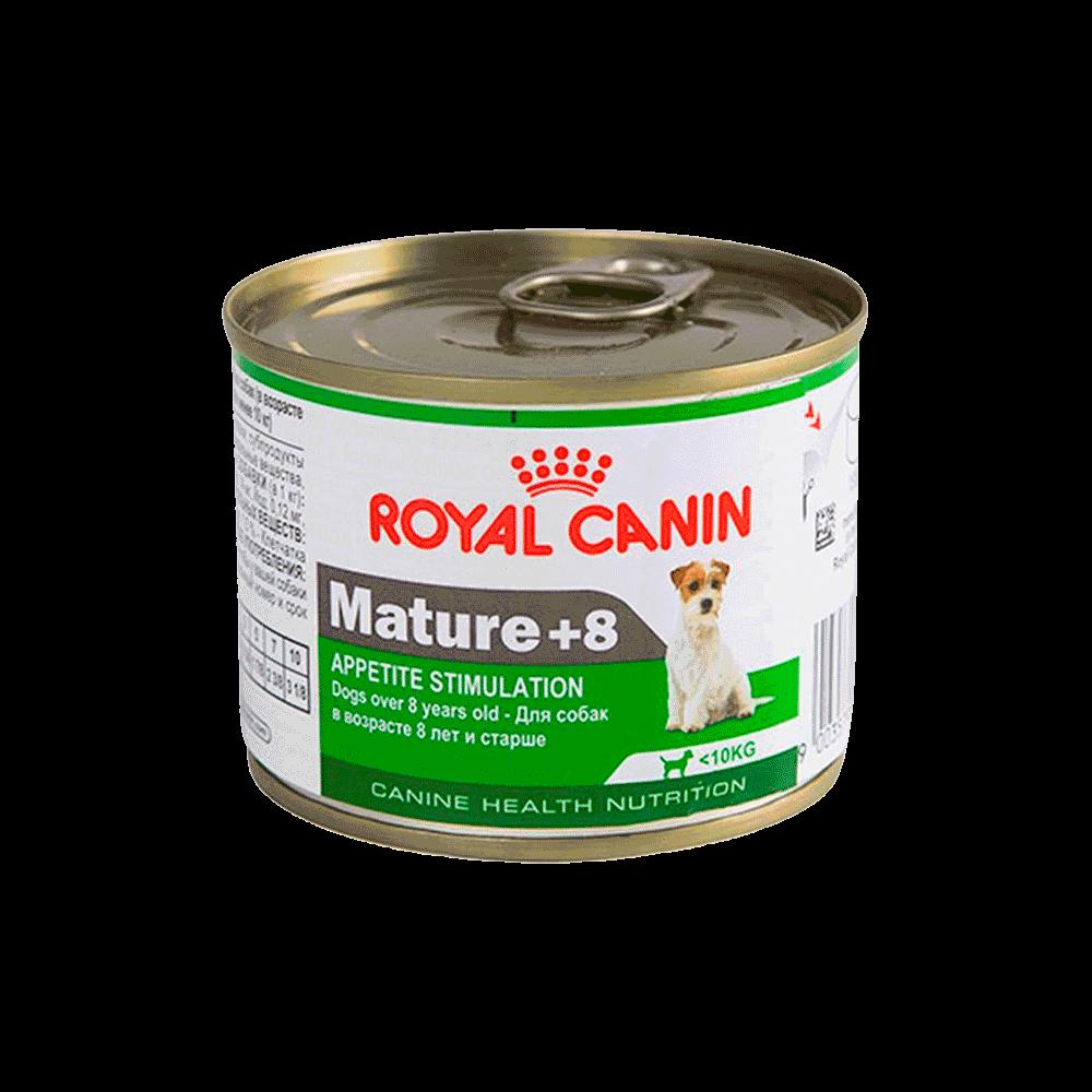 Lata blanca con verde de Royal Canin Perro Mini Mature +8 para perros de raza extra pequeña mayores a ocho años