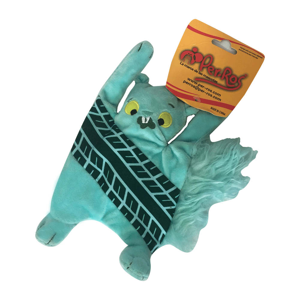 Imagen de producto Peluche ardilla aplastada color celeste verdoso con una marca en el cuerpo simulando marcas de automóvil