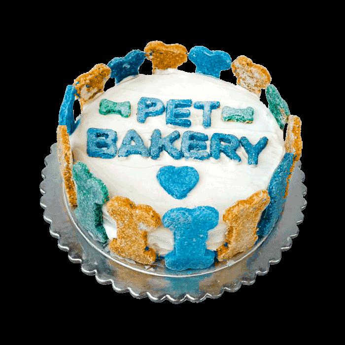 Imagen de Torta Pet Bakery con glasé blanco y galletitas azules y amarillas