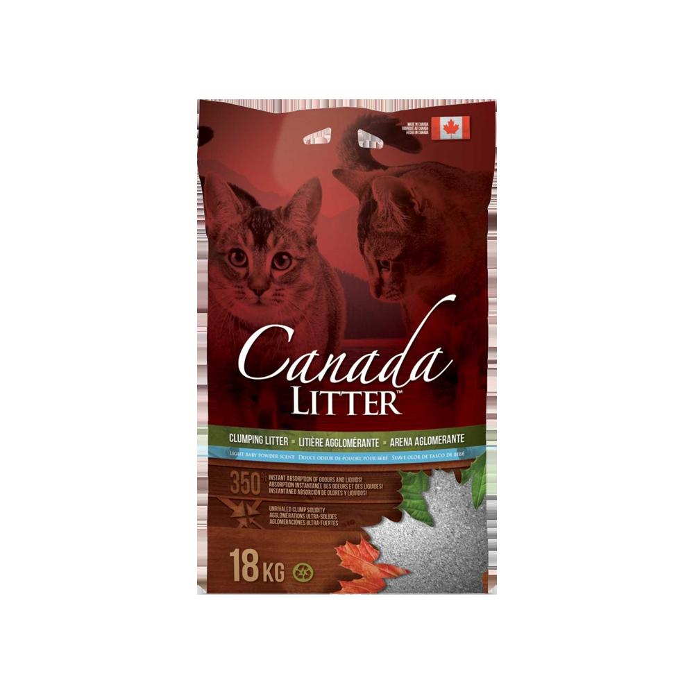 Bolsa roja con detalles verdes y celestes de Canada Litter Arena Sanitaria Talco de Bebé de arena para gatos