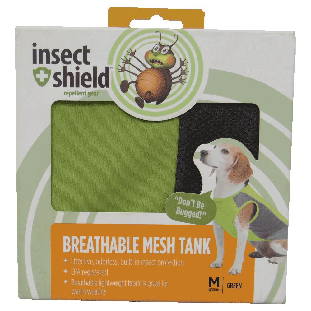 Caja de Camiseta Repelente Para Perros Verde Insect Shield en su empaque original talla mediana