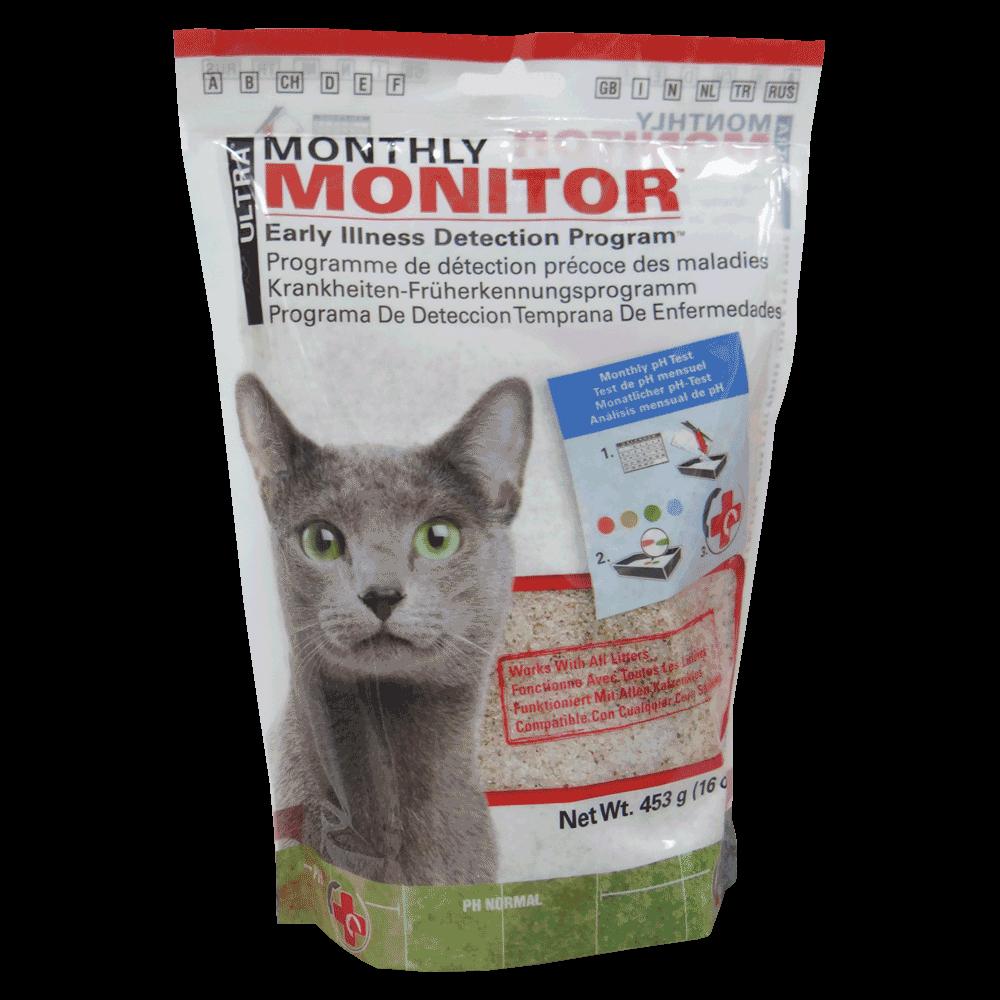 Bolsa blanca con detalles rojos y verdes de Ultra Monthly Monitor cristales de diagnóstico de pH de orina para gatos