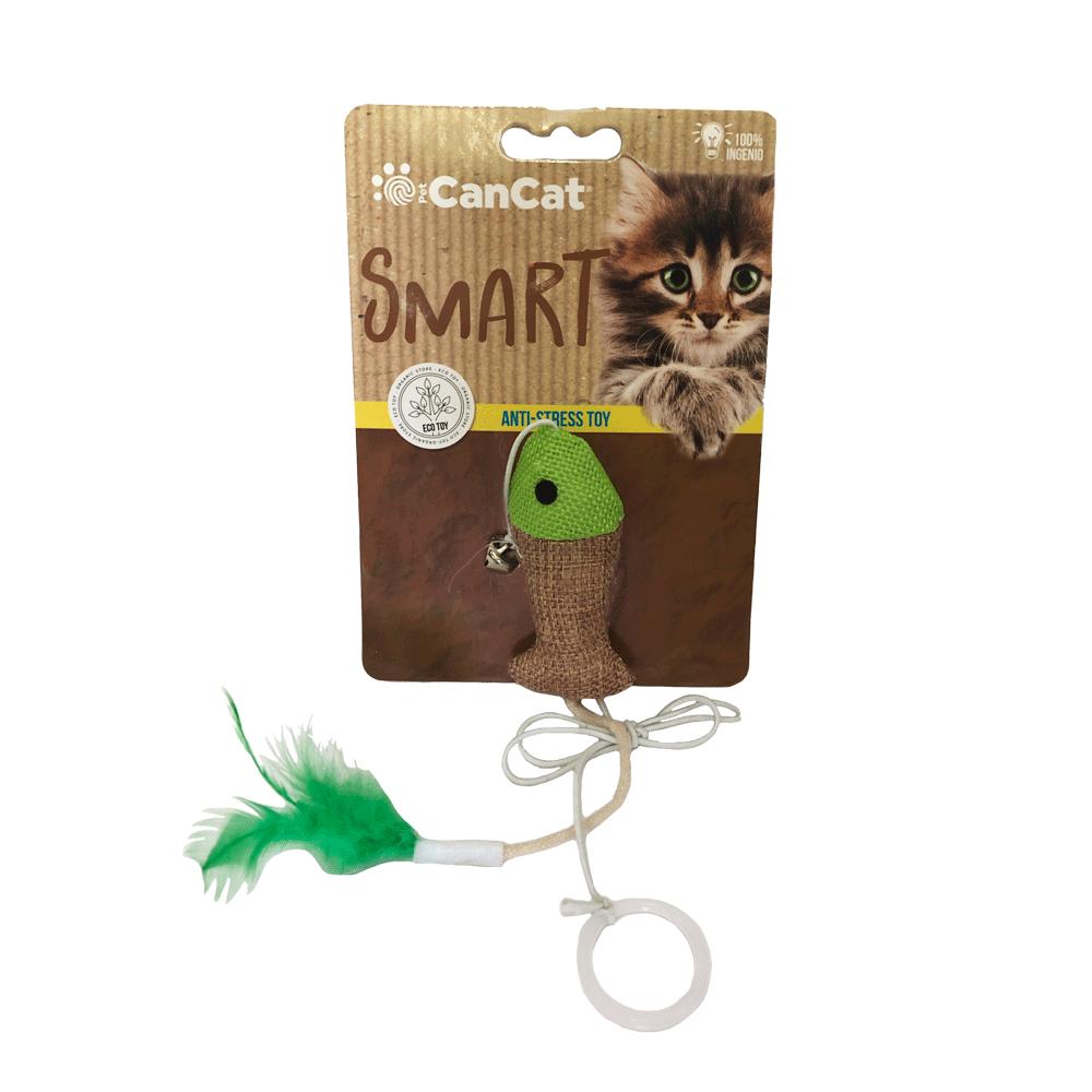 Empaque marrón de Juguete antiestrés CanCat para gatos con forma de pez con detalles verdes y pluma