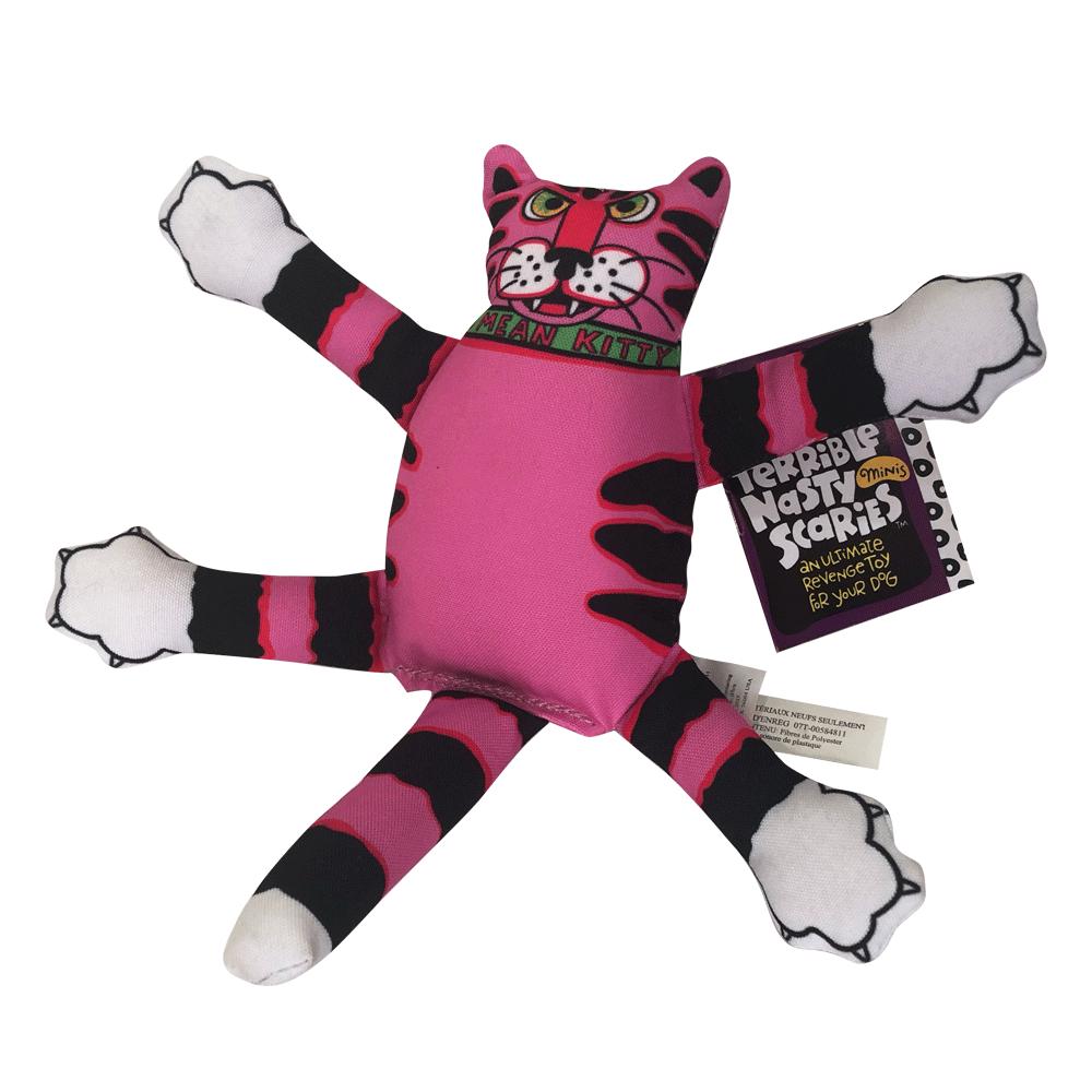 Imagen de producto Peluche Mini Terrible Nasty Scaries Fat Cat para perros con forma de gato color rosa