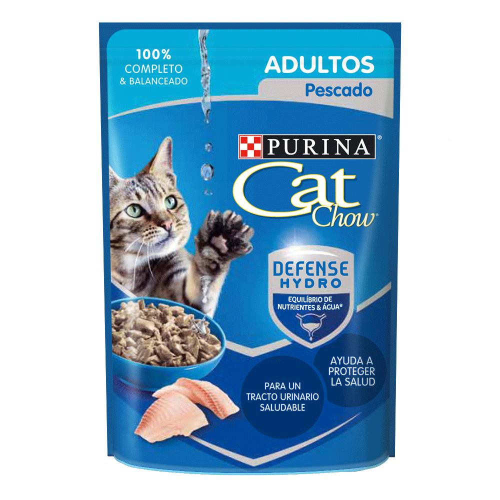Empaque azul con detalles celestes de Cat Chow Adultos Pescado Húmedo para gatos