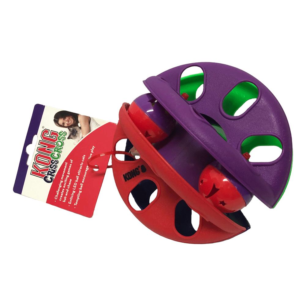 Juguete Criss Cross Kong para gatos color morado y rojo con pelotas interiores
