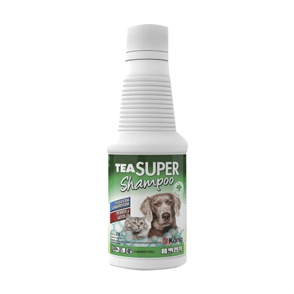 Botella blanca con detalles verdes de Tea Súper Shampoo antiparasitario para perros y gatos