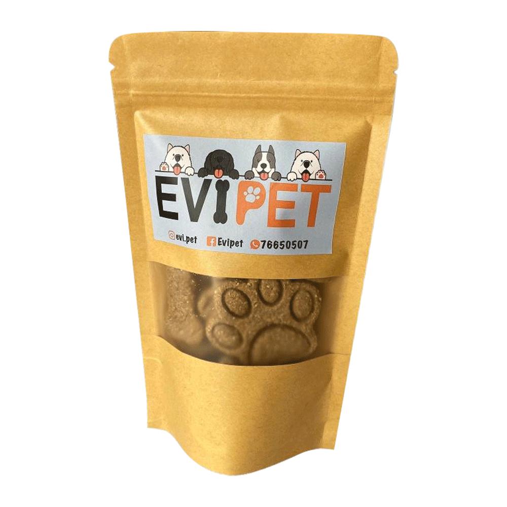 Bolsa color marrón con detalles celestes de Evipet Galletas Saludables Para Mascotas