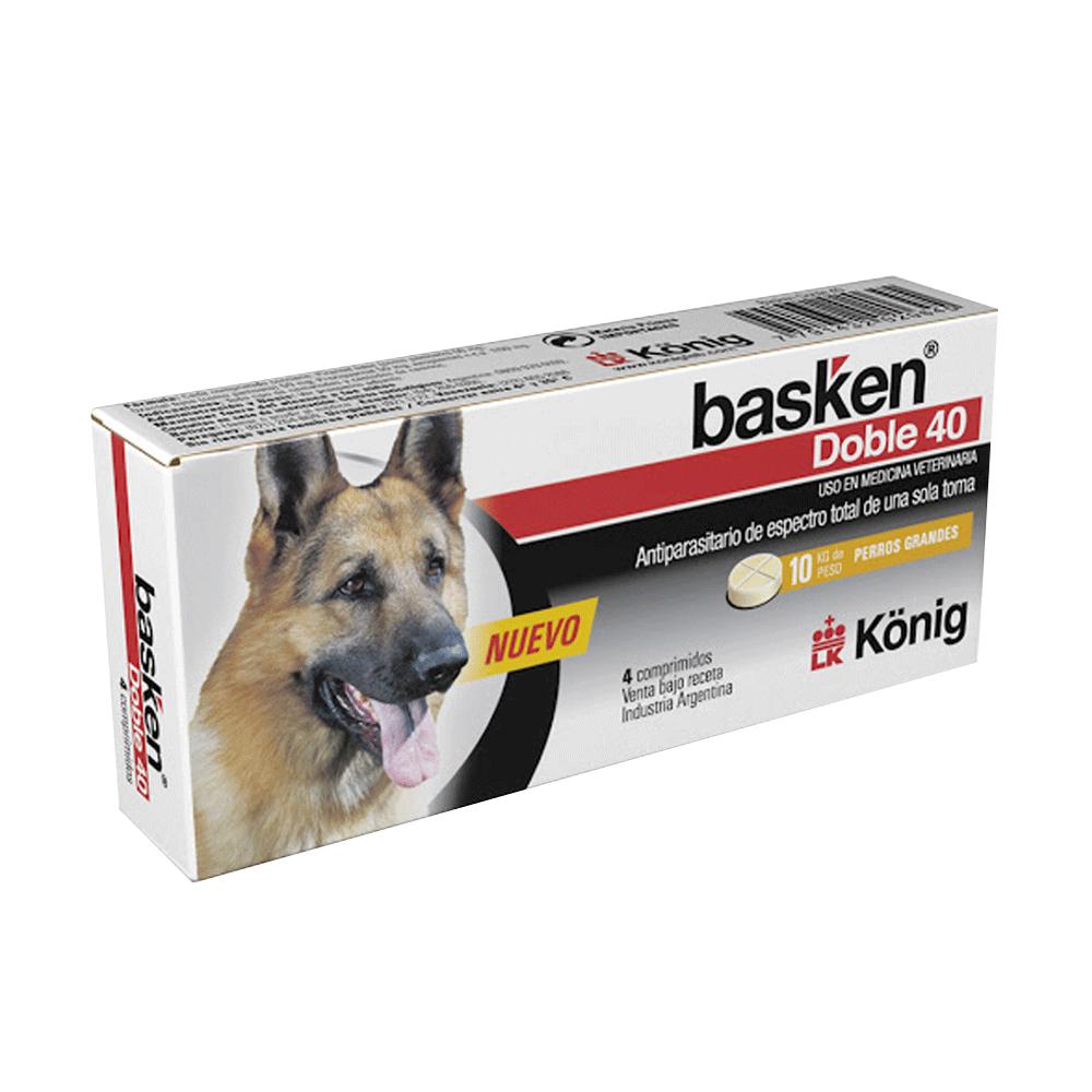 Caja blanca con detalles negros y rojos de Basken Doble 40 Perros Grandes antiparasitario interno de total espectro