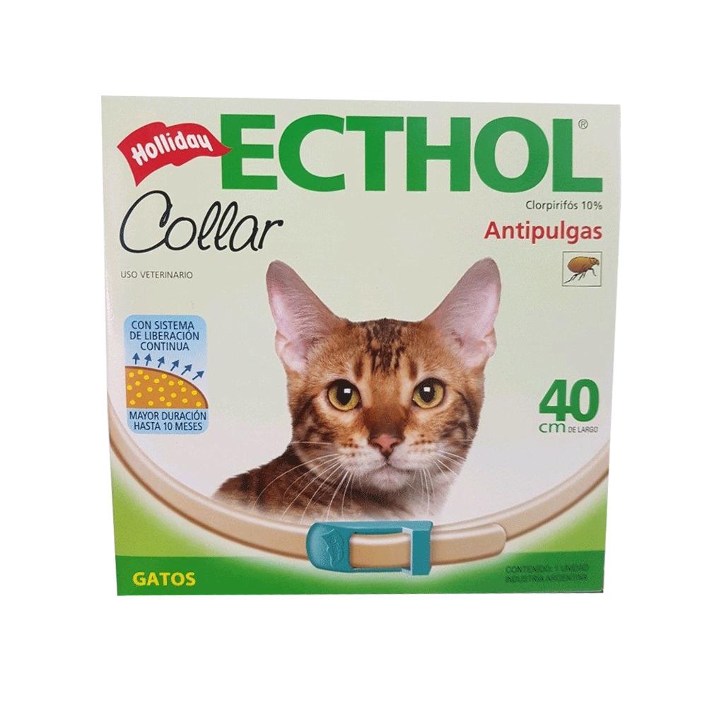 Empaque blanco con detalles verdes de Ecthol Collar Gatos Holliday antiparasitario externo para gatos adultos con longitud de 40 cm